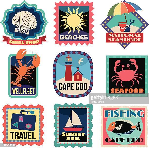 ilustraciones, imágenes clip art, dibujos animados e iconos de stock de viaje pegatinas de cape cod - travel tag