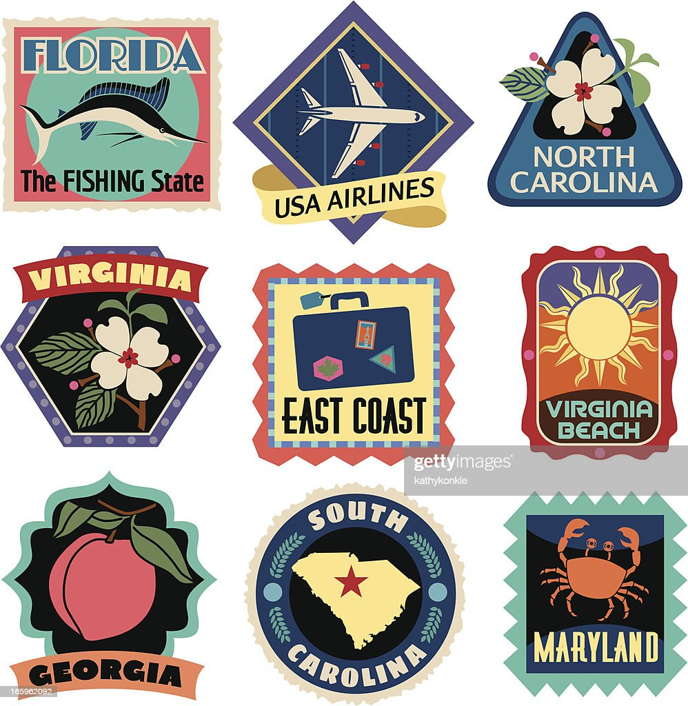 Travel Stickers East Coast USA : stock illustration