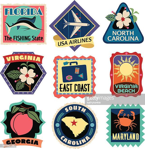 travel stickers east coast usa - travel tag stock illustrations, clip art, cartoons, & icons