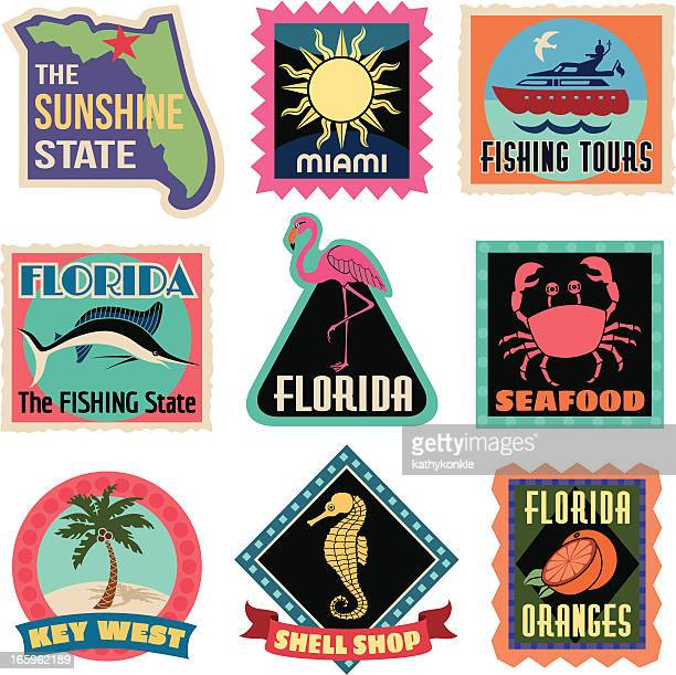 travel stickers florida - flamingo stock illustrations, clip art, cartoons, & icons