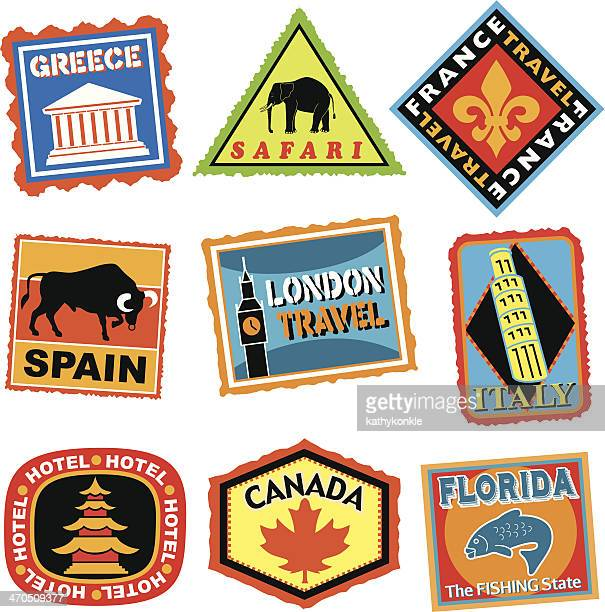 travel stickers or luggage labels in color - luggage tag stock illustrations, clip art, cartoons, & icons