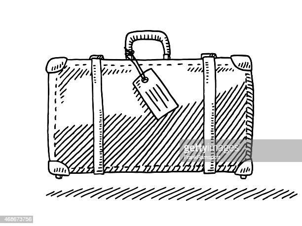 travel suitcase luggage tag side view drawing - luggage tag stock illustrations, clip art, cartoons, & icons