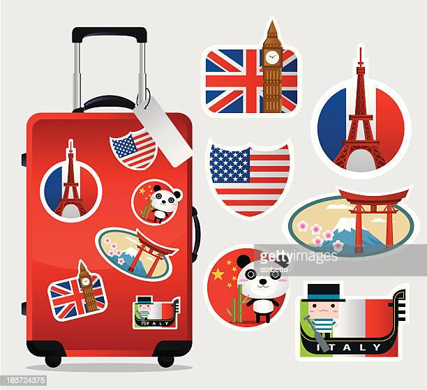 travel suitcase with stickers - travel tag stock illustrations, clip art, cartoons, & icons