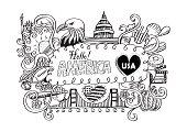 USA travel symbols in hand drawn sketch