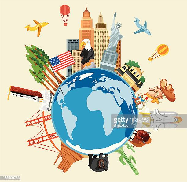 usa travel symbols - famous place stock illustrations