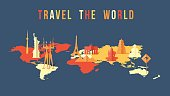 Travel the world paper cut landmark map design