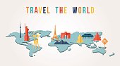 Travel the world paper cut monument map design