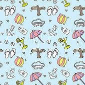 travel theme doodle background vector illustration