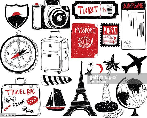 Travel themed doodle icons on white