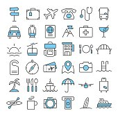 Travel thin line color icons set