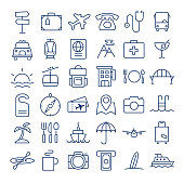 Travel thin line icons set