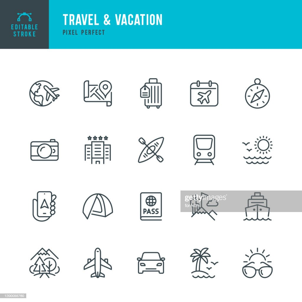 Travel - thin line vector icon set. Editable stroke. Pixel perfect. The set contains icons: Tourism, Travel, Airplane, Beach, Mountains, Navigational Compass, Palm Tree, Passport, Hotel, Cruise Ship, Kayaking, Hiking. : Stock Illustration