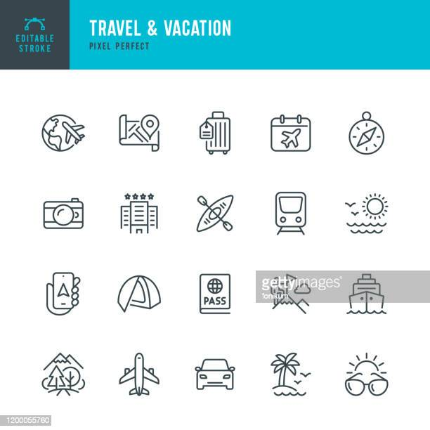 illustrazioni stock, clip art, cartoni animati e icone di tendenza di travel - thin line vector icon set. editable stroke. pixel perfect. the set contains icons: tourism, travel, airplane, beach, mountains, navigational compass, palm tree, passport, hotel, cruise ship, kayaking, hiking. - travel