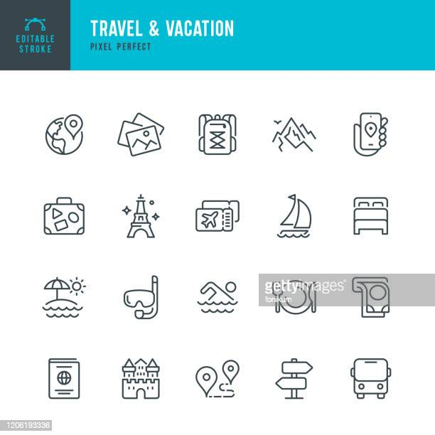 travel - thin line vector icon set. editable stroke. pixel perfect. the set contains icons: tourism, travel, vacations, beach, mountains, eiffel tower, passport, navigation, mountain, swimming, diving, airplane ticket. - tourism stock illustrations