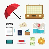 Travel things vector icons, baggage items to travelling, journey planning