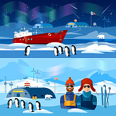 Travel to Antarctica banners. Scientific station on North Pole
