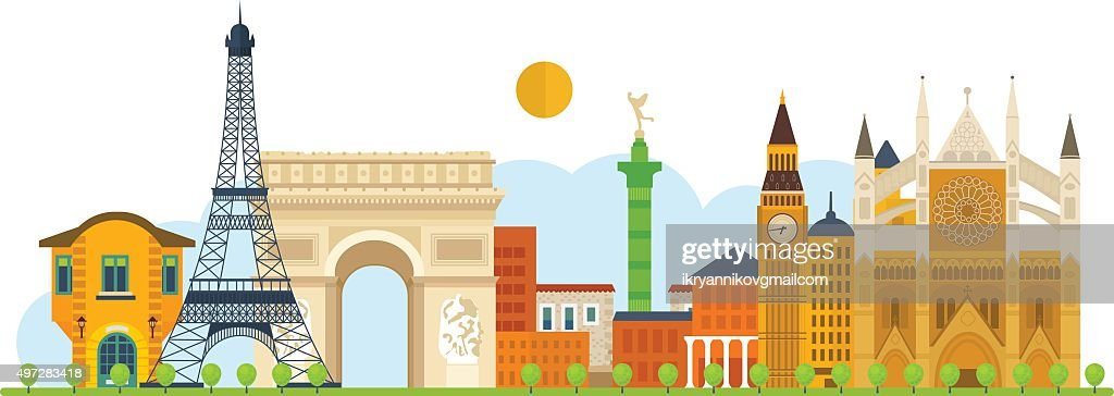 Travel to Europe. French and England landmarks