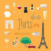 Travel to France, Paris vector icons set