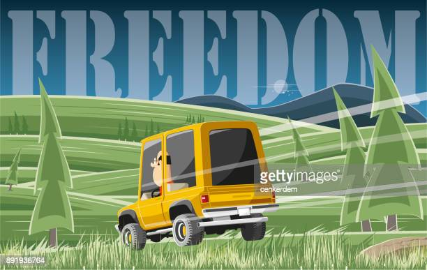 travel to freedom - rally car racing stock illustrations, clip art, cartoons, & icons