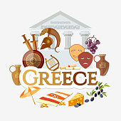 Travel to Greece. Traditions and culture,  Welcome to Greece. Collection of symbolic elements. Template travel background