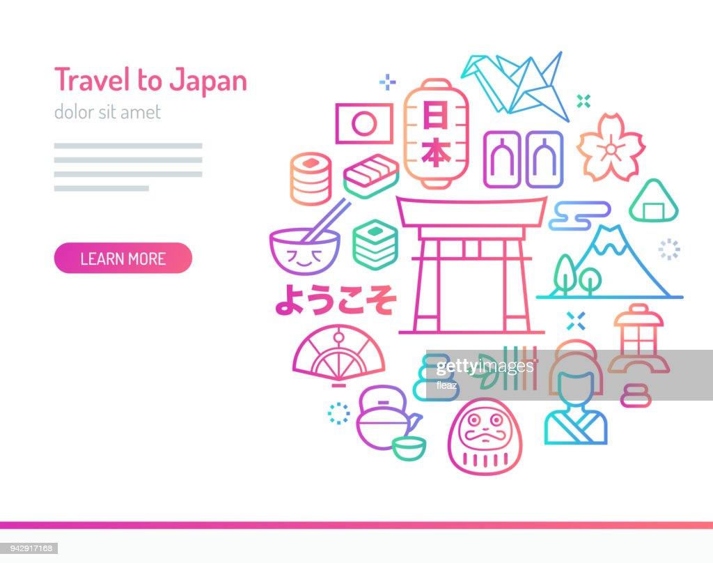 Travel to Japan Conceptual Illustration