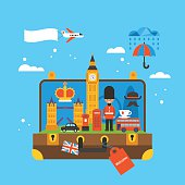 Travel to London, Great Britain concept with landmark icons