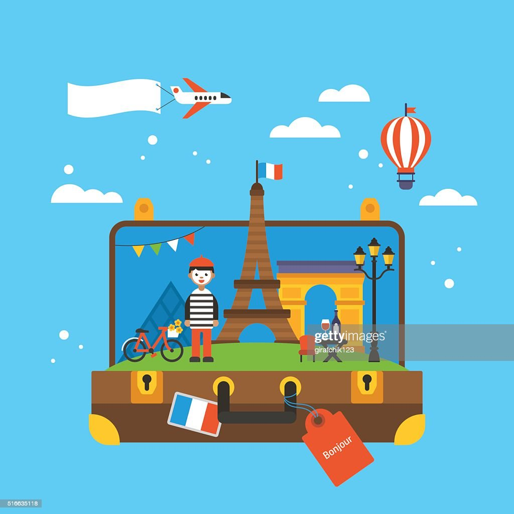 Travel to Paris, France concept with landmark icons inside suitcase