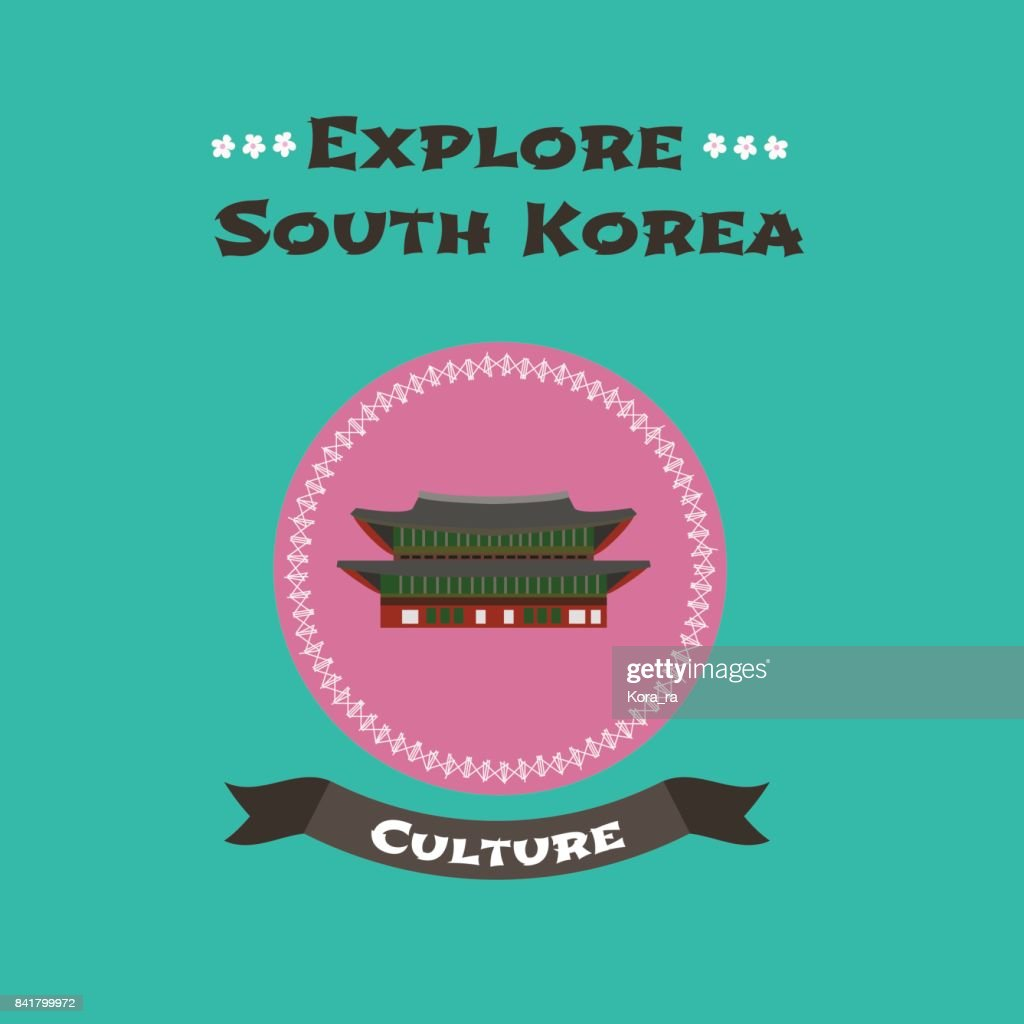 Travel to South Korea concept illustration. Ancient Gyeongbokgung fortress in Seoul