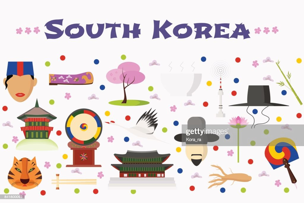 Travel to South Korea vector icons set, background or banner
