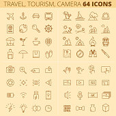 Travel, tourism, summer holidays, photo and video camera line icons.