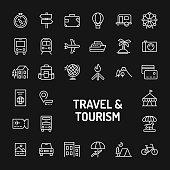 Travel, Tourism & Vacation Simple Line Icon Set
