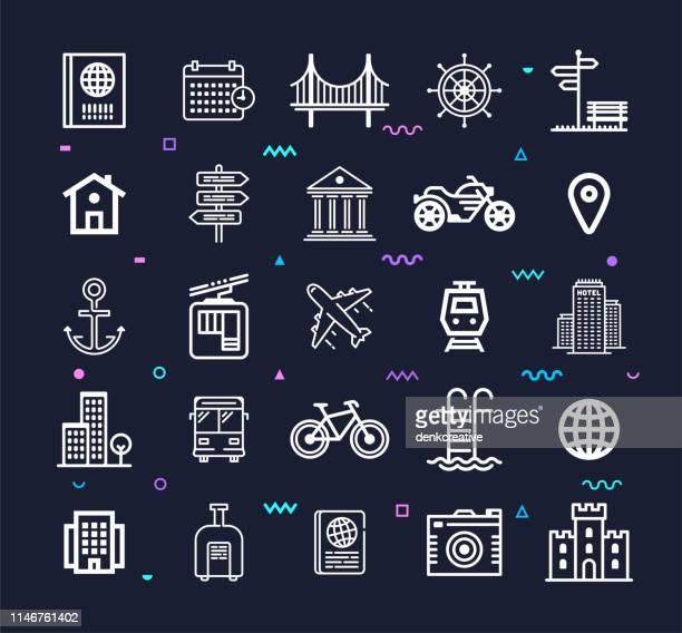 Travel, Transport & Logistics Line Style Vector Icon Set