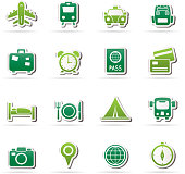 Travel, trip and transportation icons