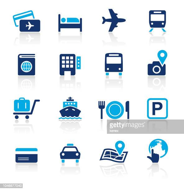 travel two color icons set - ferry stock illustrations