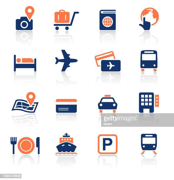 travel two color icons set - business travel stock illustrations