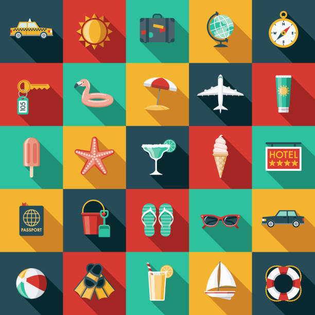 travel & vacation flat design icon set - frozen food stock illustrations