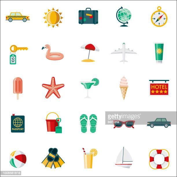 stockillustraties, clipart, cartoons en iconen met reizen & vakantie platte ontwerp icon set - strandparasol