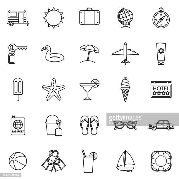 ilustraciones, imágenes clip art, dibujos animados e iconos de stock de viajes y vacaciones delgada línea contorno icon set - pelota de playa
