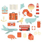 Travel vector icons set