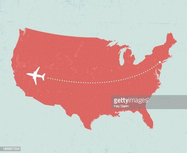 u.s. travel - vintage airplane stock illustrations