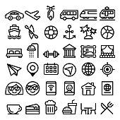 Travel vector line icons set, transport, holidays , entertainment minimalist design - big pack