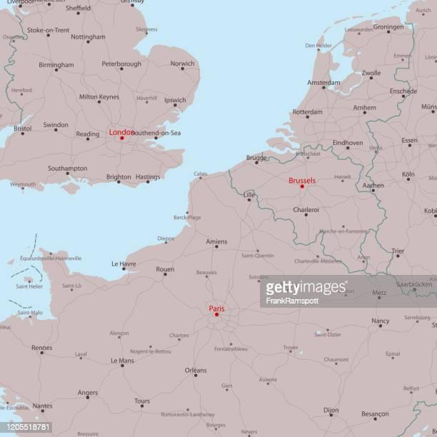 旅行ベクトルマップ ロンドン パリ ブリュッセル - イングランド南東部点のイラスト素材/クリップアート素材/マンガ素材/アイコン素材