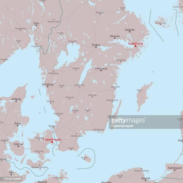 旅行ベクターマップ ストックホルム コペンハーゲン - ストックホルム県点のイラスト素材/クリップアート素材/マンガ素材/アイコン素材