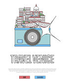 Travel Venice poster with camera