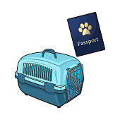 Travel with cats, dogs - blue plastic carrier and pet passport