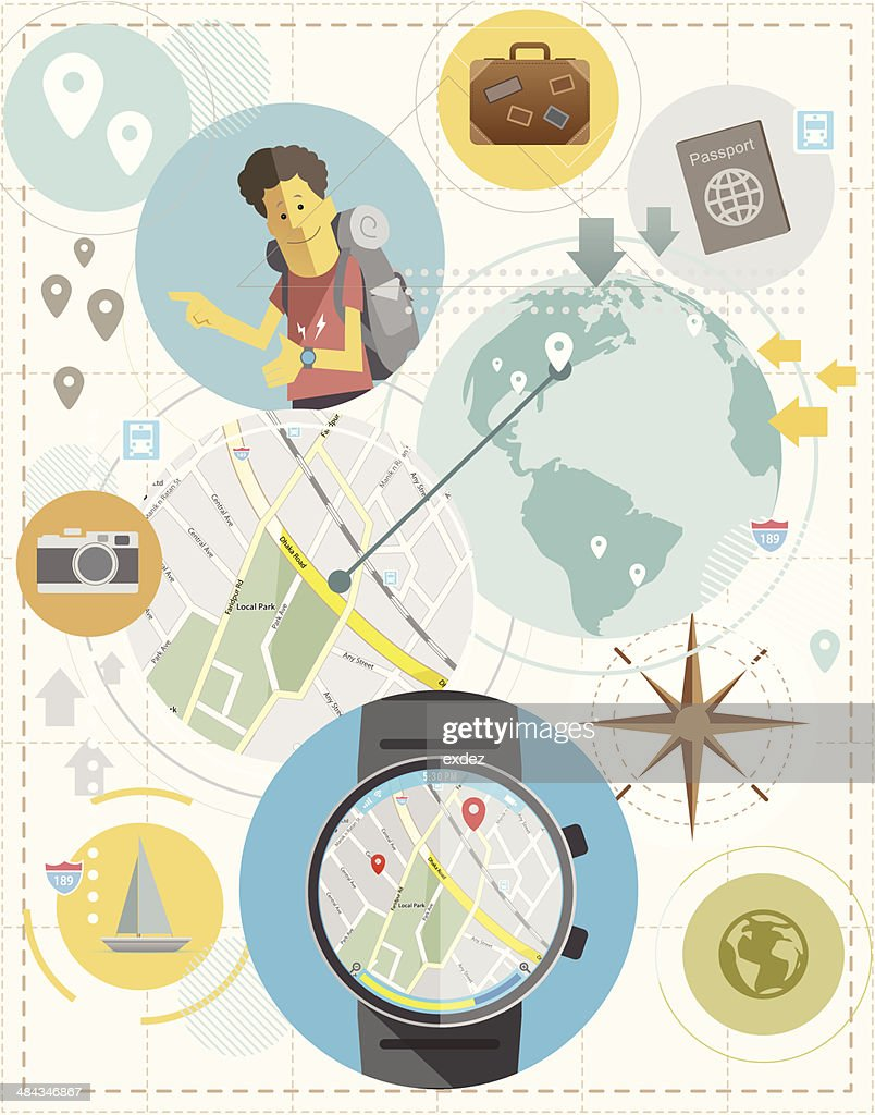 Travel with Smartwatch : Vector Art