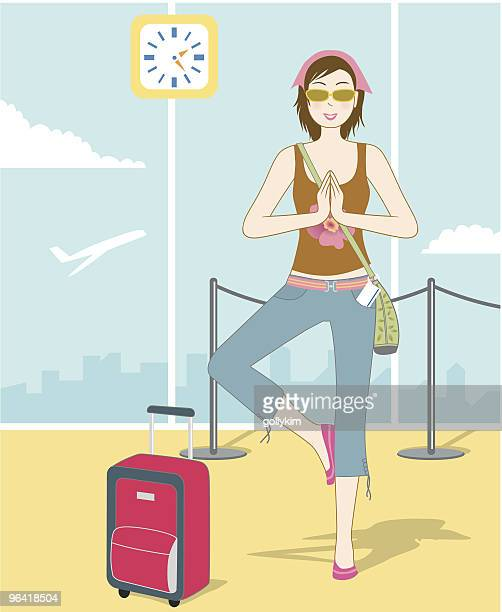 travel yoga - patience stock illustrations
