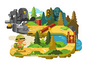 Travelers adventures on forest trail flat design