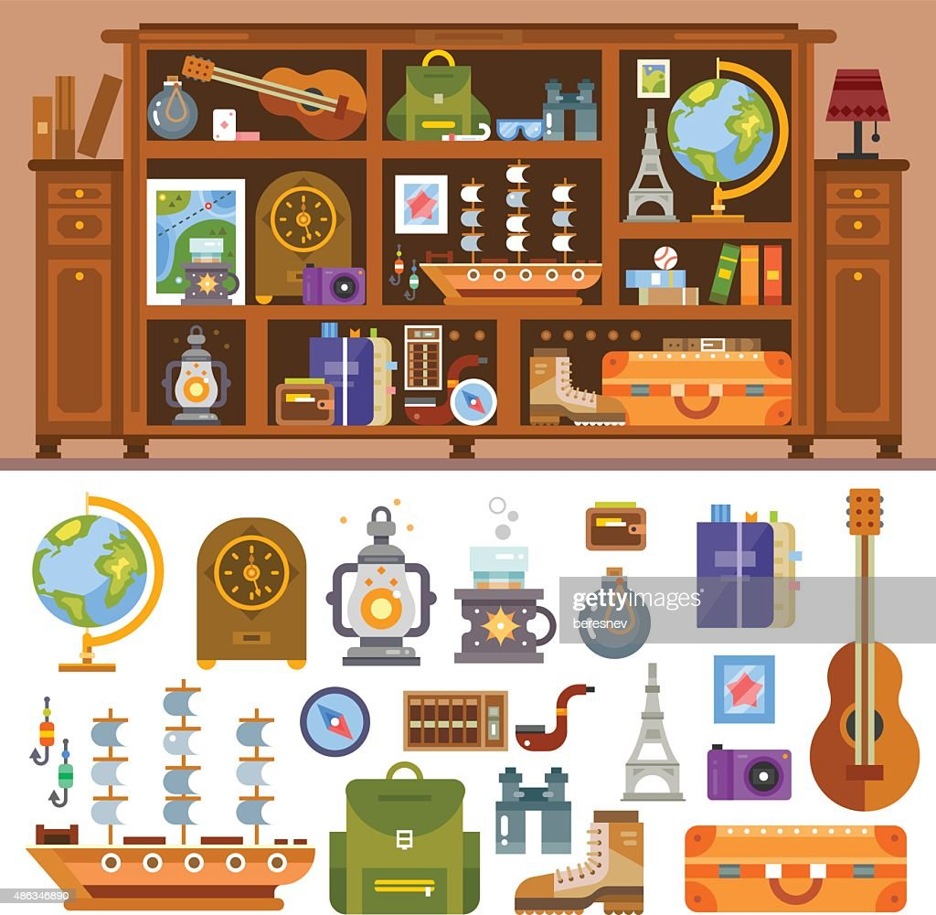 Travelers's cupboard with books and souvenirs from trips