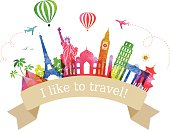 Traveling and tourism. Colorful label. Vector.